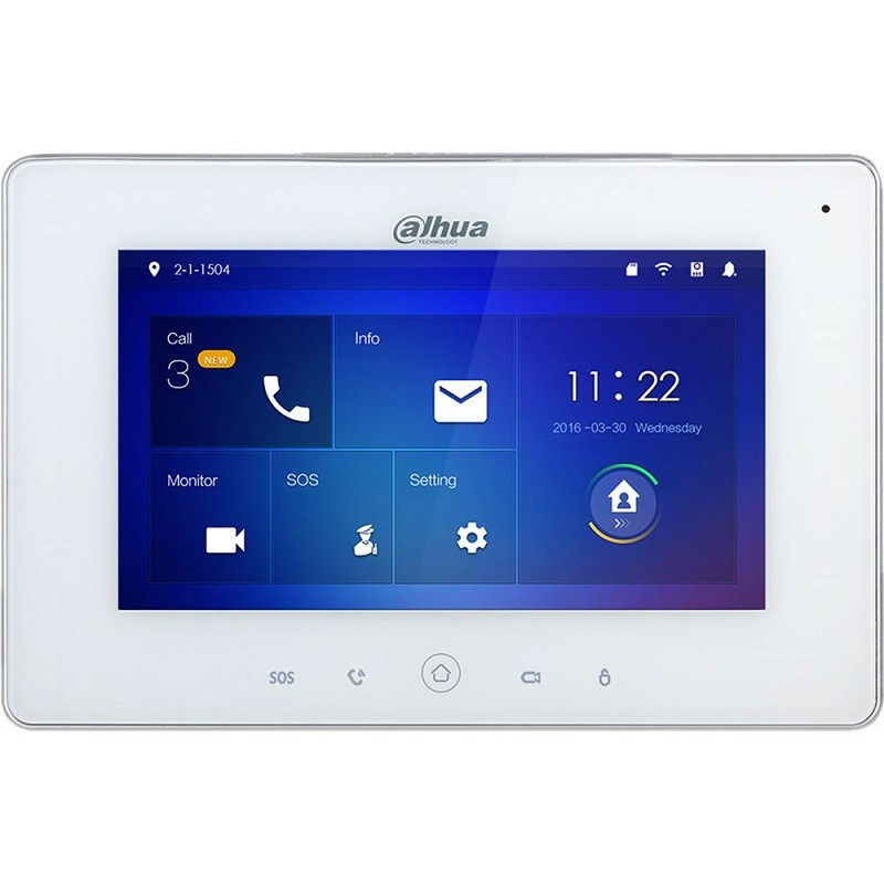 """VTH5221DW-S2 – 7"""" IP Indoor Monitor, Wi-Fi, PoE, White"""