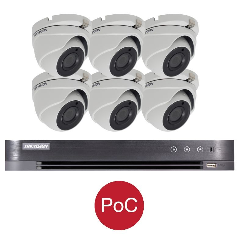 T62E28D/P – Hikvision 2MP Tourelle Turbo HD PoC Kit